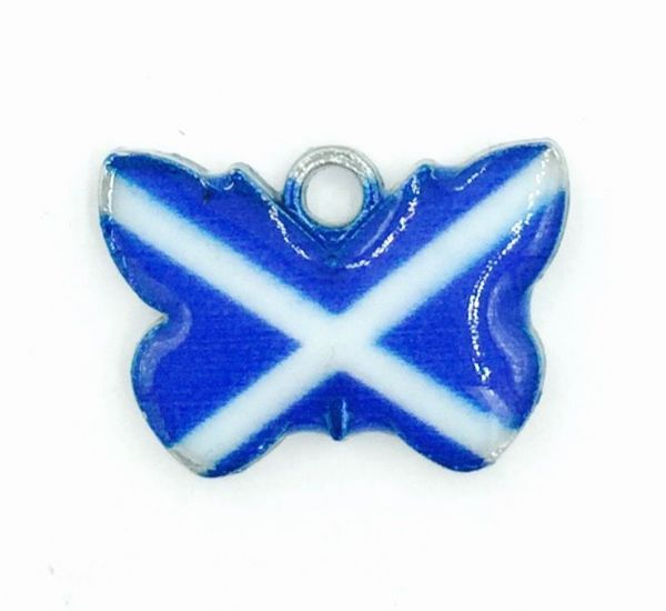 Scottish charm - Blue and white Saltire flag - Butterfly - 17mm x 13mm